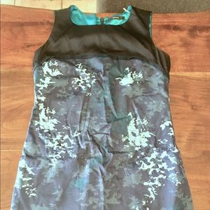 EUC navy blue floral and green dress 4